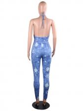 Backless Tie-Wrap Printed Halter Denim Jumpsuit