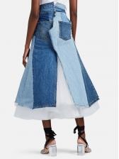 Boutique Colorblock Gauze Patchwork Maxi Dress