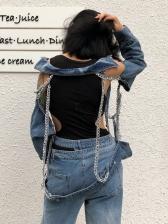 Hot Sale Chain Decor Ripped Denim Jacket