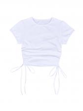 Summer Drawstring Draped Solid T-Shirt