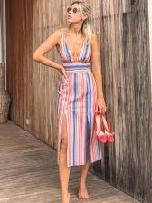 Sexy V Neck Multicolored Stripe Sundress