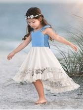 Contrast Color Ruffles Girls High Low Dress