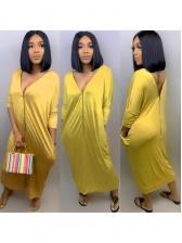 Hot Sale V Neck Zipper Up Solid Color Maxi Dress