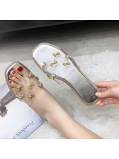 Cozy PVC Sequined Bowknot Women Flat Slippers
