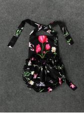 Summer Flower Tie-Wrap Girls Halter Romper
