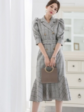 Tailored Collar Double-Breasted Plaid Fishtail Dress