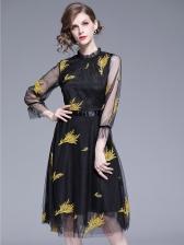 Stylish Crew Neck Embroidery Long Sleeve Dress