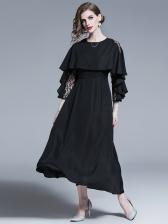 Elegant Lace Panel Black Maxi Formal Dress