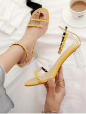 Sexy PVC Rivets Perspex Clear Heel Sandals For Ladies