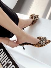 Trendy Leopard Binding Bow Pointed Slip On Heels