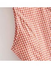 Simple Design V Neck Plaid Sleeveless Dress