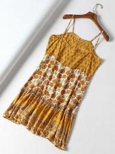 Holiday Print Pulling Ropes Backless Sundress