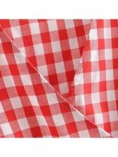 Summer V Neck Plaid Ruffles Sleeveless Dress