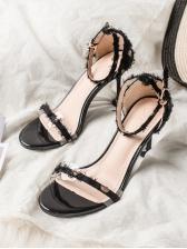 Trendy Dot Printed Tassel Buckle Strap Women Sandals