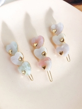 Korean Heart Color Block Hair Clip