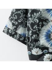 Turndown Collar Printed Self Tie Short Sleeves Blouse Design