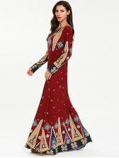 National Style Print Long Sleeve Muslim Maxi Dress