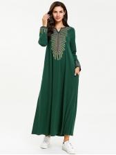 Stylish Plus Size Embroidery Muslim Maxi Dress
