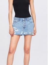 Hot Sale Single-Breasted Ripped Denim Short Skirt