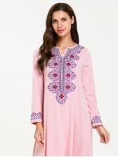 Fashion National Embroidery Maxi Muslim Dress