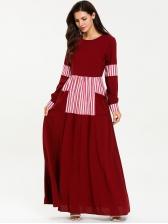 Crew Neck Striped Color Block Maxi Muslim Dress
