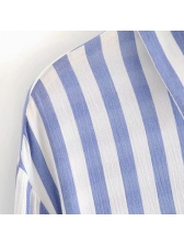 Single-Breasted Striped Loose Ladies Blouse
