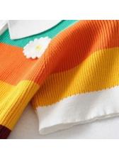 Turndown Collar Iridescent Stripes Knitting Short Sleeves Top