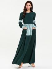 Plus Size Striped Color Block Maxi Muslim Dress