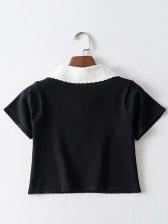 Cute Turndown Collar Cherry Printed Knitting Blouse