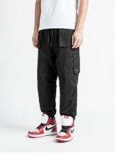 Solid Color Pockets Drawstring Men Jogger Pants
