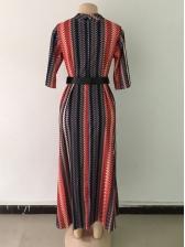 Crew Neck Print Maxi Dress With Belt