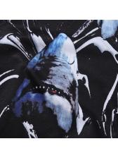 Round Collar Shark Printing Men T-Shirt
