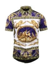 Retro Printing Turndown Collar Men Shirt