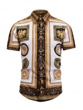 Turndown Collar Vintage Print Short Sleeve Shirt
