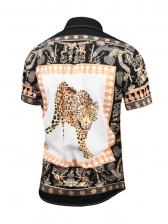 Tiger Print Color Block Men Short Sleeve Shirt