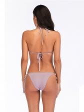 Square Printed Low-cut Tie-wrap Women Bathing Suit