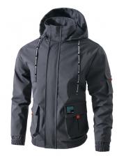 Chic Hooded Collar Pocket Elastic Waist Jacket