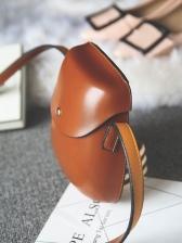 Fashion Solid Leather Semi-Circular Crossbody Bag