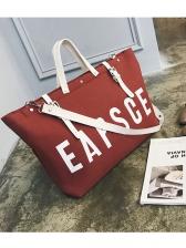 Letter Contrast Color Belt Canvas Tote Bag
