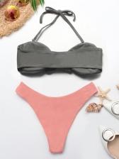 Sexy Binding Bow Off Shoulder Women Bikini Suit
