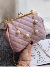 Faux Pearl Decor Quilted Womens Bag