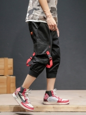 Stylish Pockets Men Jogger Cropped Trousers