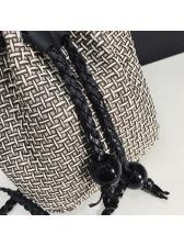 Simple Design Solid Drawstring Straw Bucket Bag