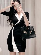 Fashion V Neck Color Block Fitted Dress