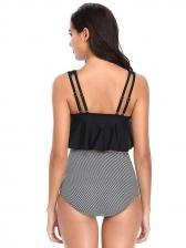 Chic Striped Solid Pleated Ruffles Women Tank Bikini