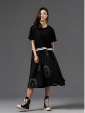 Dots Printed Black Short Sleeve Maternity Dress