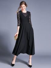 Elegant Crew Neck Big Swing Black Lace Dress
