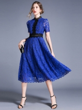 Stand Collar Hook Flower Hollow-Out Lace Dress