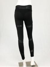 Sexy Black Gauze Patchwork Fitness Yoga Legging