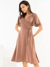 Ol Style Smart Waisted Short Sleeve Dress